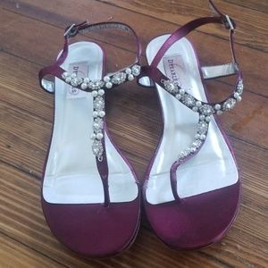 "Davids Bridal ""dyable"" wine sandals"